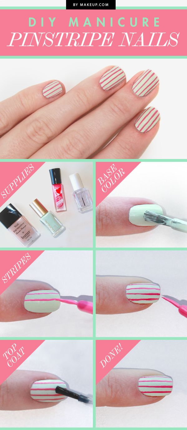 In need of some fabulous nail art ideas? Try this DIY pin strip manicure tutorial! Getting this mani is easy; all you need is base coat, mint polish, a soft red polish, and top coat!
