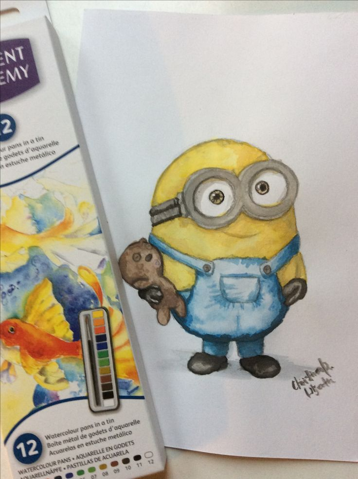 Watercolor minion; drawing by ArtWolf