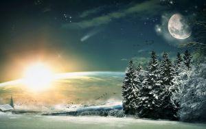 Preview tapéta Hold, a csillagok, éjszaka, fantasy, táj, festmény, művészet, fa, tél