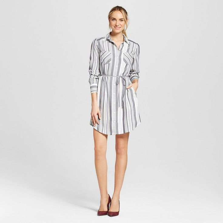 Women's Striped Shirt Dress Cream XL - Merona, Sour Cream