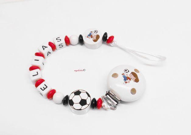 Schnullerkette Fußball Name Baby myduttel©  md133 von myduttel auf DaWanda.com