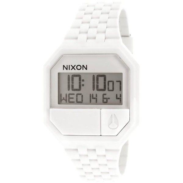 Nixon Women's Re-Run Digital White Rubber and Dial (66 CAD) ❤ liked on Polyvore featuring jewelry, watches, white, nixon wrist watch, rubber wrist watch, digital watches, buckle jewelry and water resistant watches
