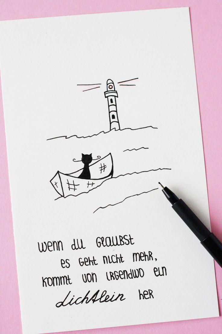 Wenn du glaubst, es geht nicht mehr, kommt von irgendwo ein Lichtlein her. Bild, Doodle mit einer Katze und einem Boot. Some Joys Blog.