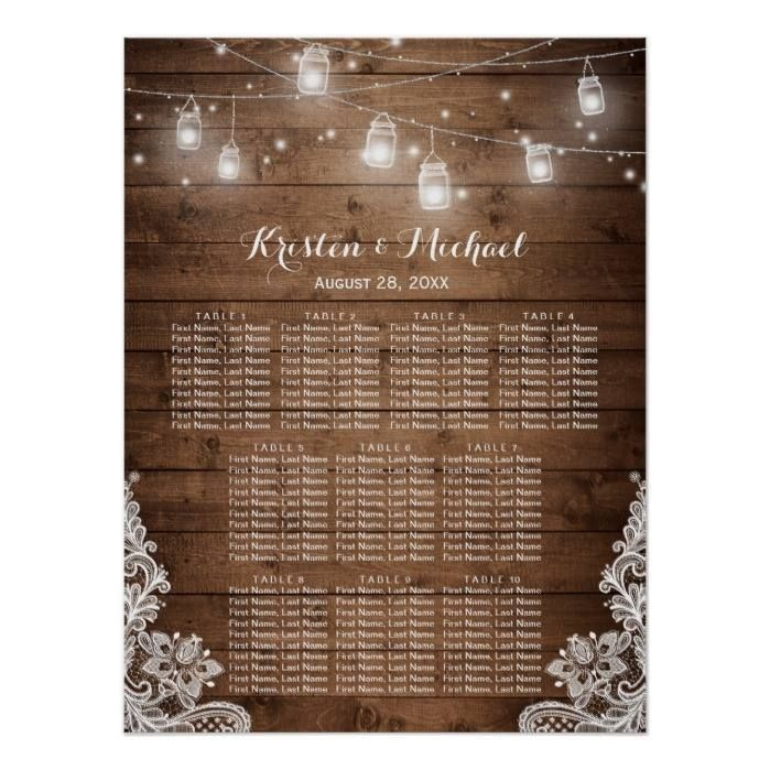 Customizable #Barn#Wood #Elegant #Lace #Mason#Jars #Outdoor#Wedding #Rustic #Rustic#Country #Seating#Chart #Seating#Tables #Summer #Vintage #Wedding #Wood Rustic Country String Lights Wedding Seating Chart Poster available WorldWide on http://bit.ly/2g6Uo6S