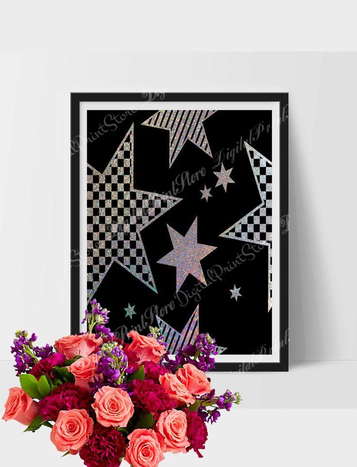 Silver Star Glitter Modern Wall Print Art 04, Girly Decor, Wall Art Print, Modern Art by DigitalPrintStore on Etsy