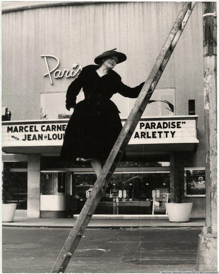 Posing outside Paris Theater