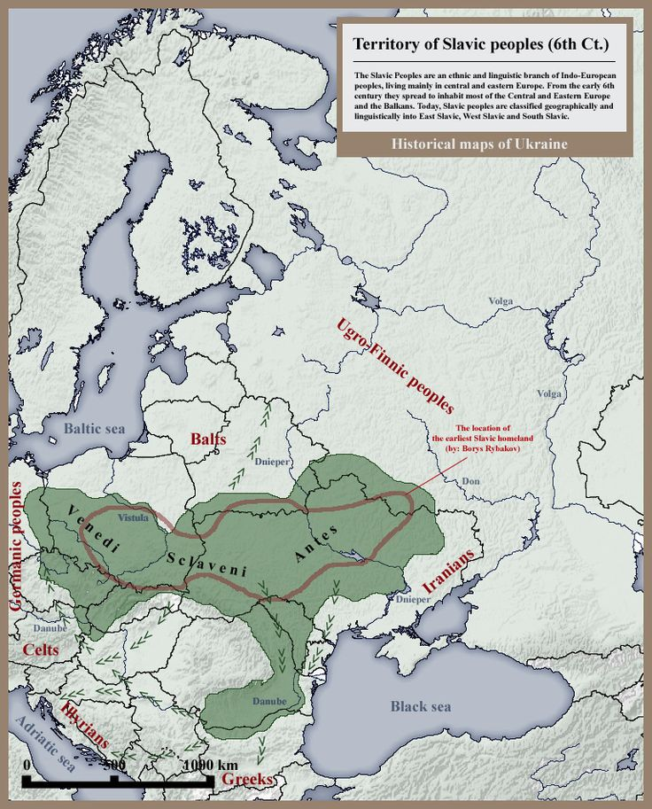 Slavic People's 6th century Historical Map