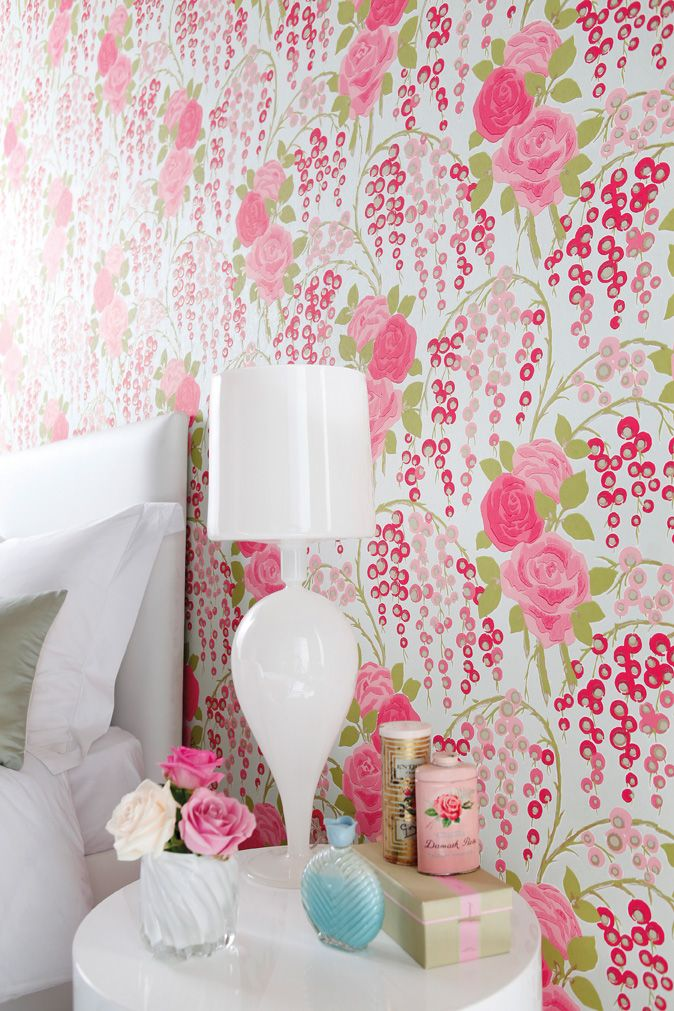 Add a vintage yet colourful look to your bedroom with the Iola Rose wallpaper from Boutique by Harlequin