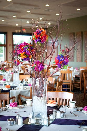 Orange, Pink and/or Yellow OR Sunset Theme Centerpieces :  wedding beach centerpiece feathers orange pink reception sunset yellow Wedding 9