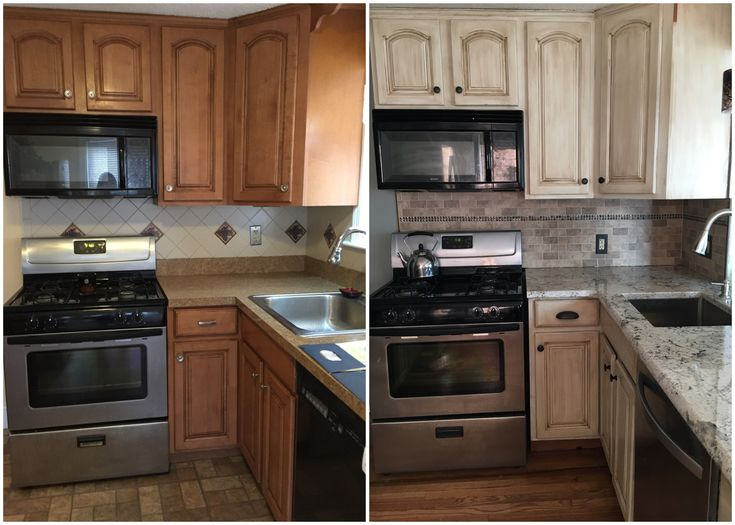 Before/After  Rustoleum Cabinet Transformations in Pure White with Glaze, white ice granite counters, Backsplash from Lowe's with the mosaic tile accent from Home Depot.