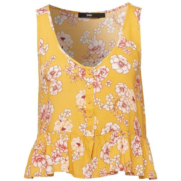FLORAL CROP TANK (3855 RSD) ❤ liked on Polyvore featuring tops, cut-out crop tops, floral tank, floral print tank top, yellow floral top and yellow tank top