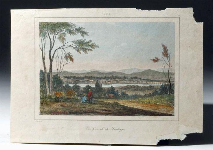 Vue Generale de Santiago [General View of Santiago (Chile)] drawn by J. Arnout, ca. 1840