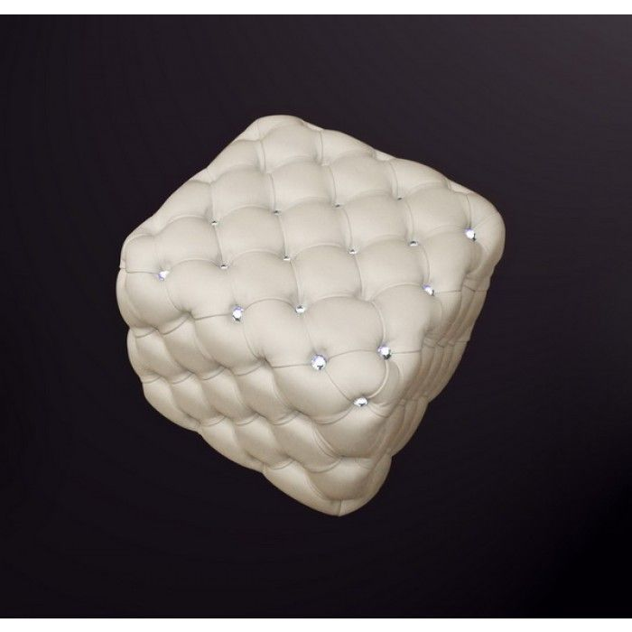 The luxurious appeal of the 301B modern square shaped white tufted leather ottoman is emphasized with the carefully entrenched artificial diamonds all over in its tufts. The artificial diamonds mingled well with the soft texture of the Italian leather that will give your living room an entrancing and charismatic appeal.