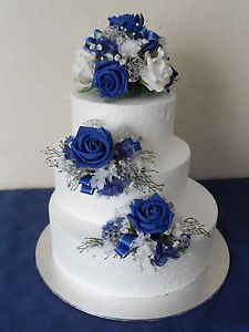 Three Silk Flower Wedding Cake Toppers In Royal Blue Silver And White