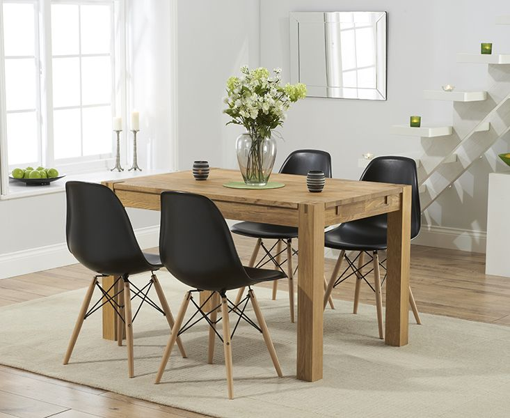 379 GBP Buy the Verona 120cm Solid Oak Dining Table with Charles Eames Style DSW Eiffel Chairs at Oak Furniture Superstore