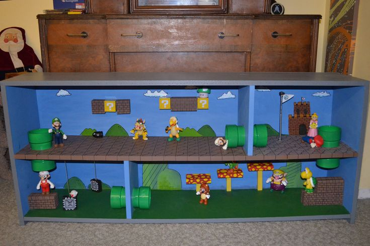 Super Mario Brothers:  I made this from an old shelf in our basement...  Cheapest present at Christmas and by far my son's favorite!  I call it Marioscape.