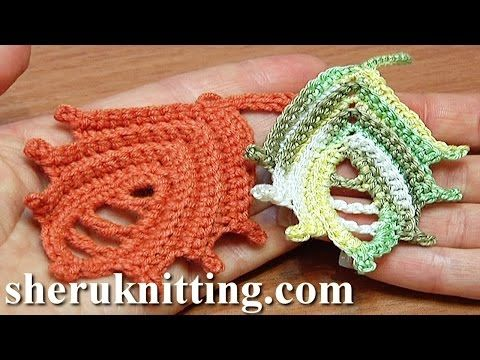 Leaf Crochet How to Tutorial 25 Work In Back Loop Technique - YouTube