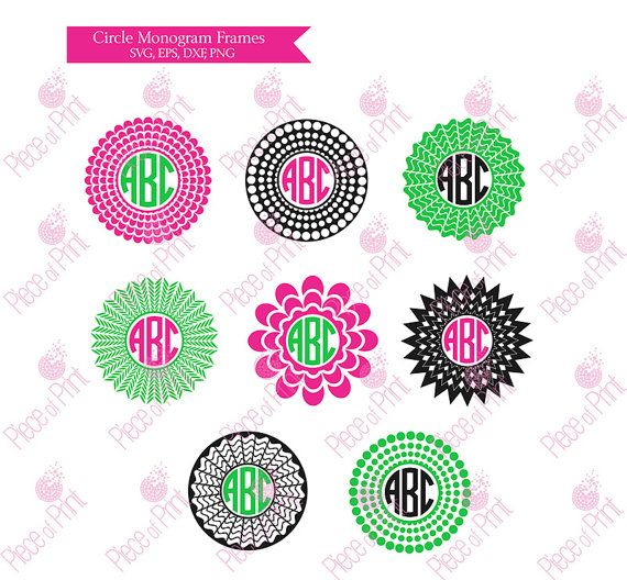 Circle Monogram Frame SVG Cut Files Cut files for by pieceofprint