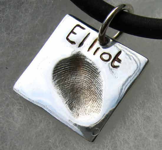 Square sterling silver fingerprint charm