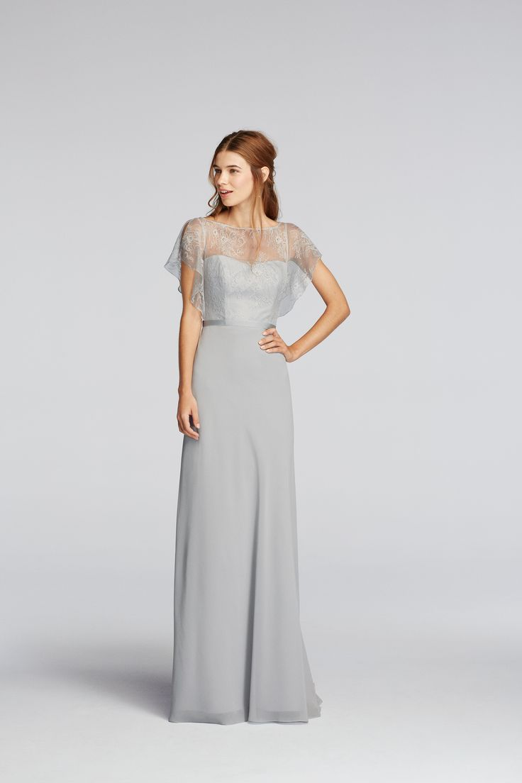 124 best wonder by jenny packham bridal images on pinterest pinterest presale chiffon dress with cascading lace sleeves shown in mystic wonder by davids bridal bridesmaidgray bridesmaidsbridesmaid ombrellifo Images