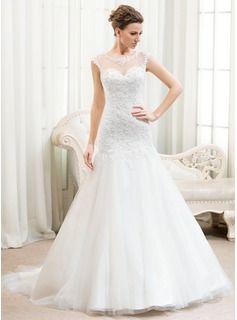 Trompete/Sereia Decote redondo Cauda de sereia Tule Renda Vestido de noiva com Bordado Lantejoulas - R$ 669,15