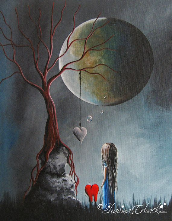 ORIGINAL SURREAL PAINTING fantasy art Dreamy Dreamscape Heart Full Moon Outsider Dead Tree
