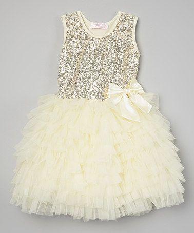 Look at this #zulilyfind! Cream Sequin Ruffle Dress - Infant, Toddler & Girls by Popatu by Posh #zulilyfinds