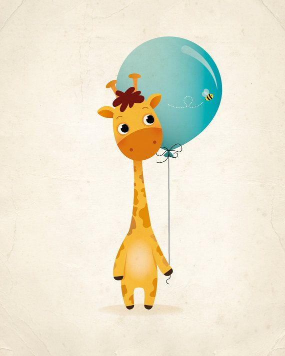 Giraffe and balloon art print nursery print by IreneGoughPrints