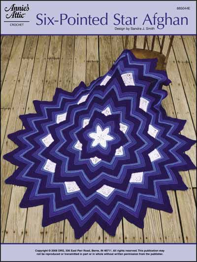 Crochet - Afghan & Throw Patterns - Assorted Patterns - Six-Pointed Star Afghan