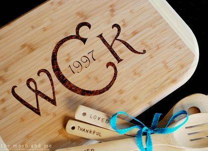 diy monogrammed cutting board wood burning stencil, crafts