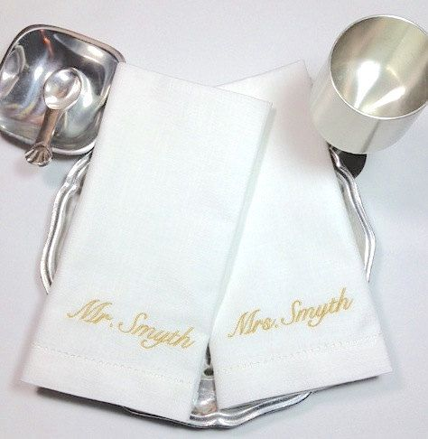 Personalized Bride and Groom Napkins, Bride and Groom cloth napkins, wedding gift, bride and groom wedding napkins, wedding head table ideas