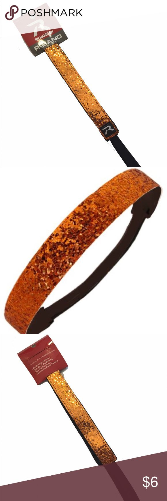 """RICHARDSON Orange Glitter Softball Headband R-Band Brand new with tags. Never worn. No condition issues. Great for sports, school spirit week. Show your school colors. Orange glitter. Has no slip grip dots inside Band. Approximately 19"""" inches in circumference, unstretched. Richardson Accessories Hair Accessories"""