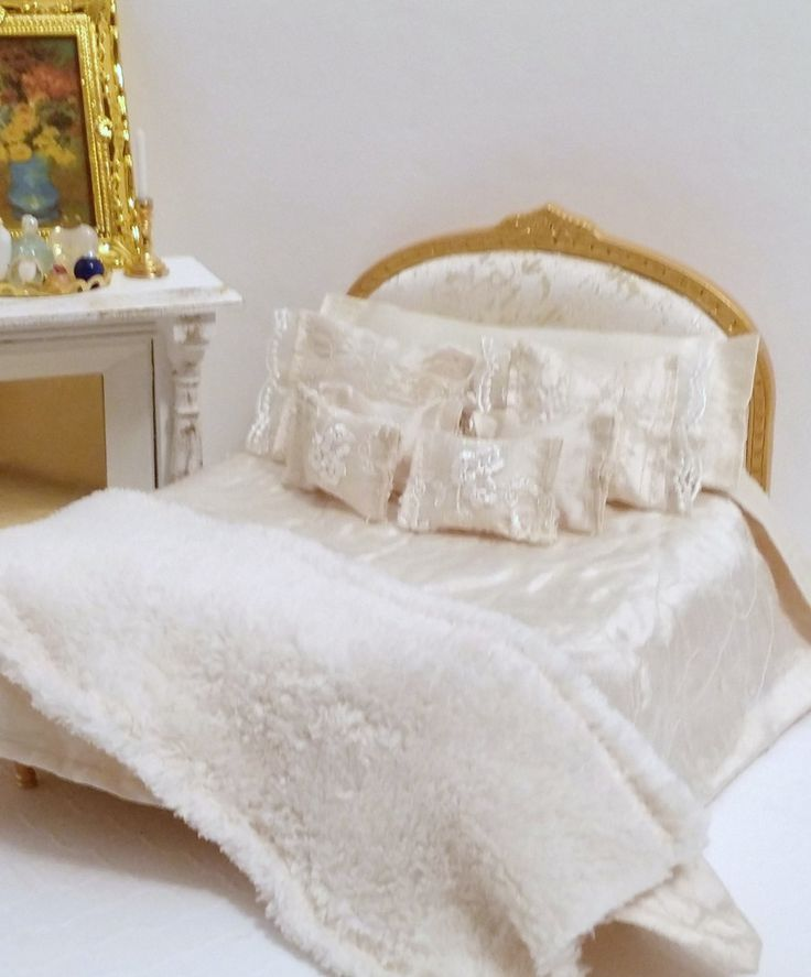 Ivory Silk Dupioni 1:12 Scale Dollhouse 9 Piece Bedding Set, Silk Dollhouse Double Bed Bedding Set Shabby Cottage Chic, Glam, Modern Bedding by WendyDollHouse on Etsy