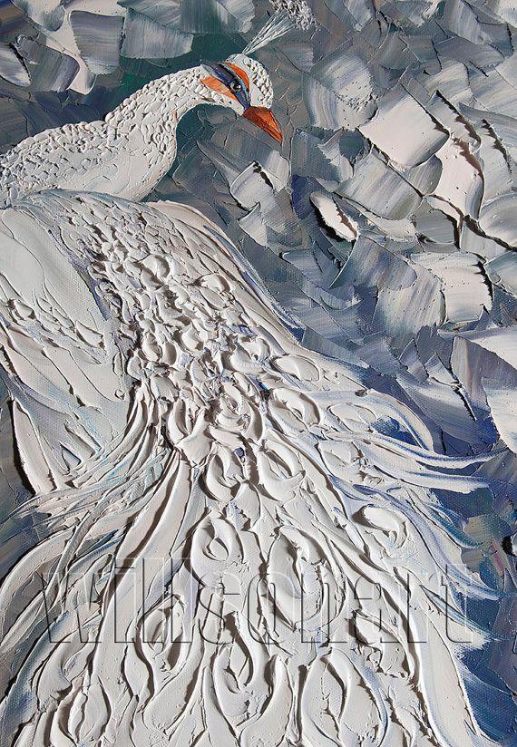 Peacock Modern Oil Painting Textured Palette Knife by willsonart