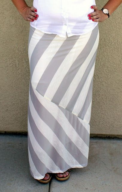 Mismatched Striped Maxi Skirtl