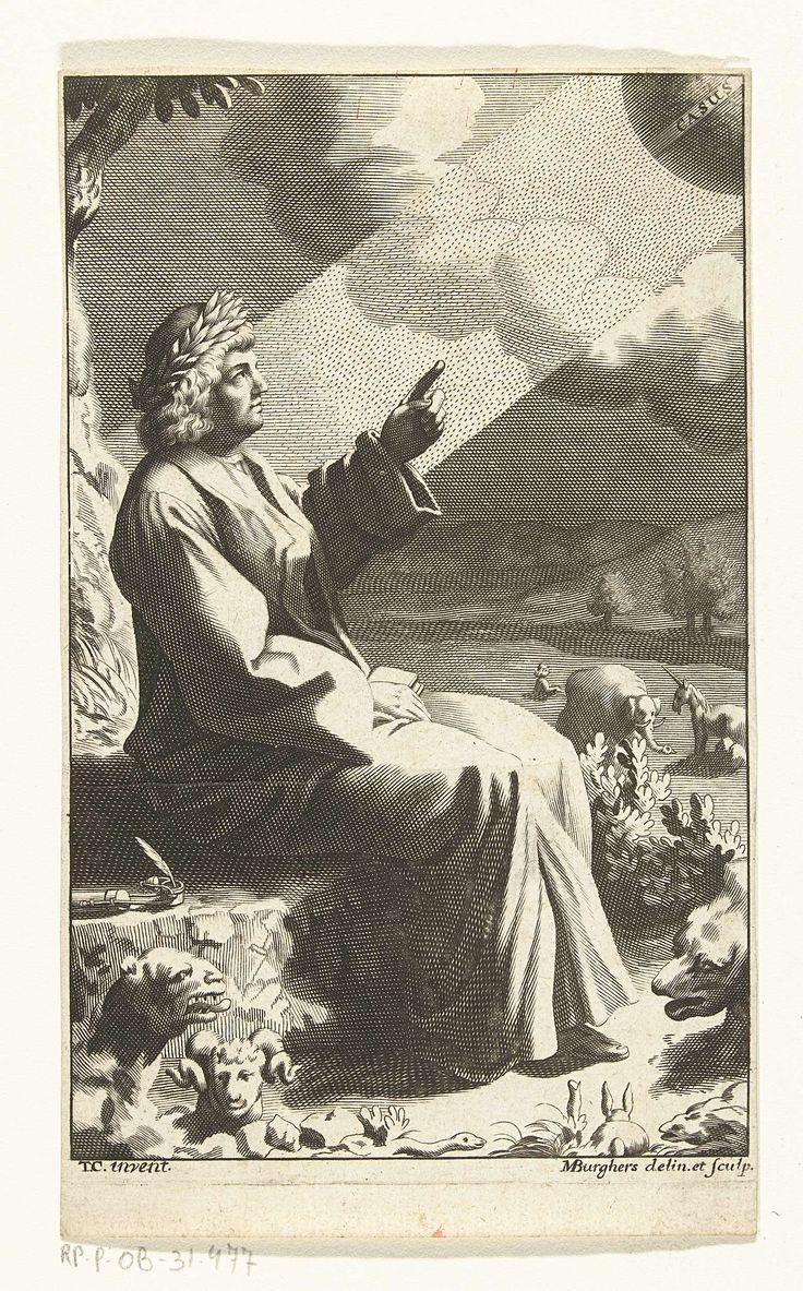 Michael Burghers | Dichter in de wildernis, Michael Burghers, 1650 - 1723 | Een dichter met lauwerkrans (ev. Orpheus) zit op een rots in de wildernis. Rondom hem allemaal dieren zoals een slang, een konijn, een ram, een beer, een olifant en een eenhoorn. De dichter wijst met zijn linkerhand richting de zon, wiens stralen op hem neerdalen. Op de zon staat geschreven 'casus'.