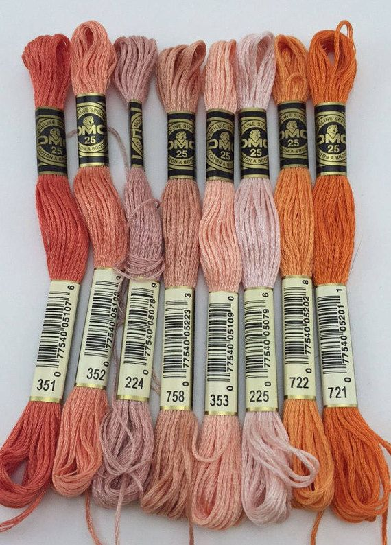 Corals Pinks & Reds: DMC Classic 6 Strand by SewWhatDesignsUS