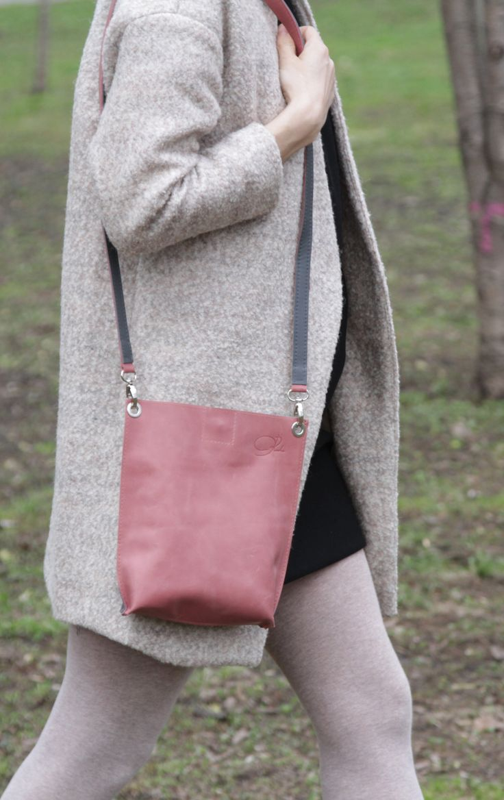 """Small Shoulder Bag """"Monica Double Grey"""", Small Leather Crossbody, Handmade Leather Crossbody Purse, Rose and Grey Bag, Genuine Leather Bag"""