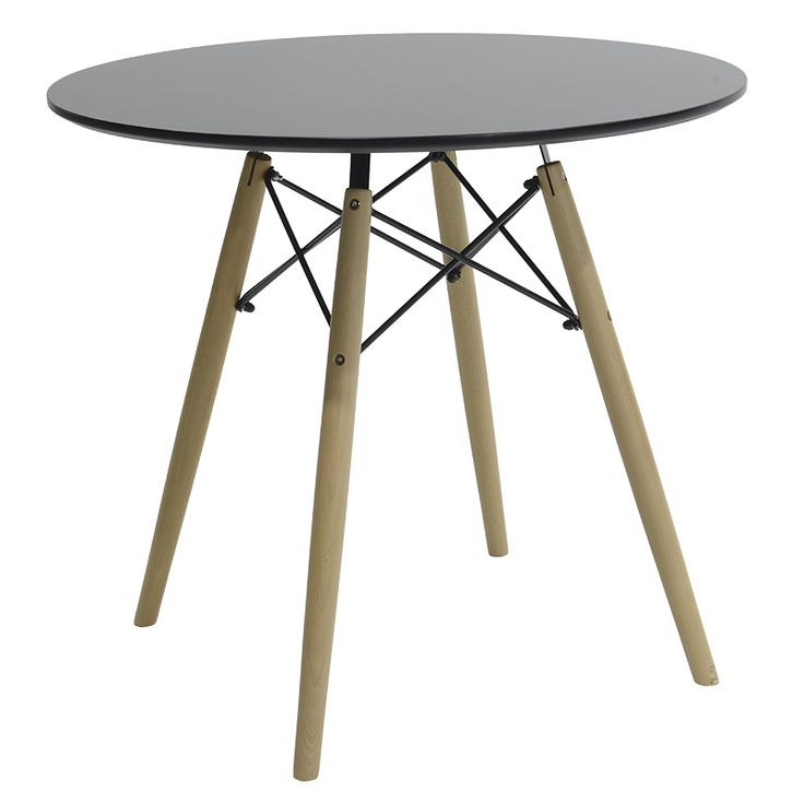 Round table Julita MDF top black F80