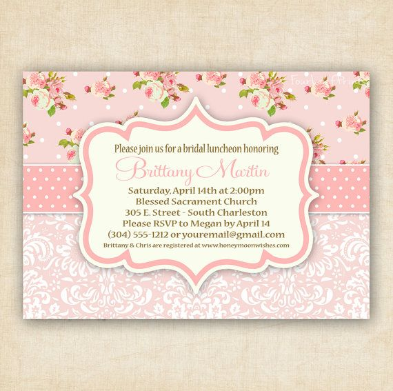 Pink Shabby Chic Floral and Damask  Baby Shower by FourLeafPrints, $13.00