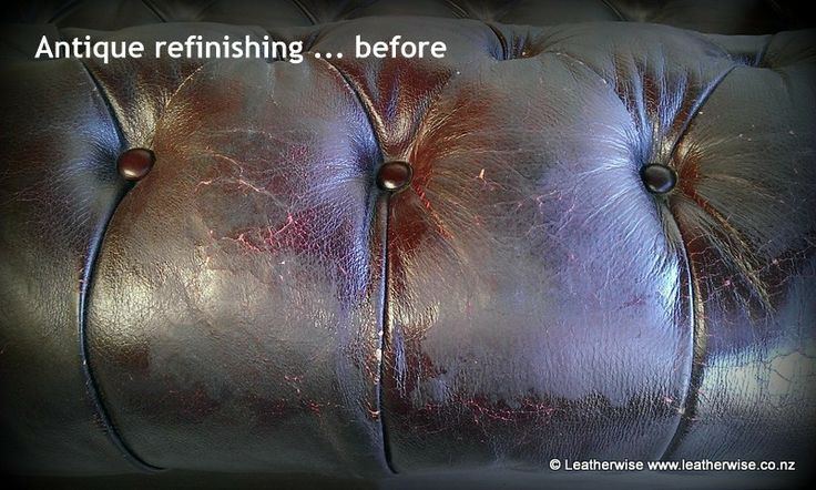 Antique chesterfield leather refinishing ... before