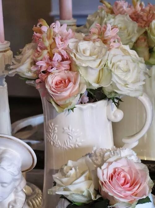 Beautiful pink and white roses in a shabby chic kitchen <3
