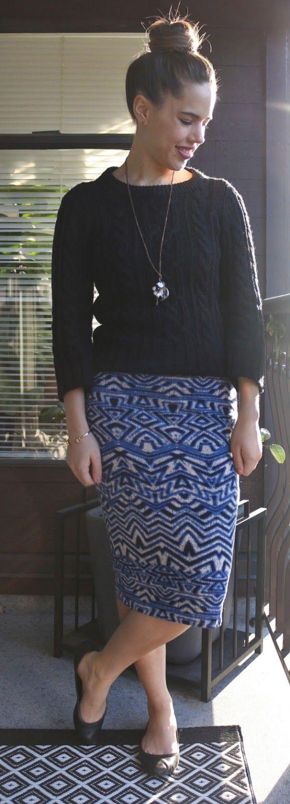 Jules in Flats - Abstract Print Bodycon MIdi Skirt, Cable Knit Sweater