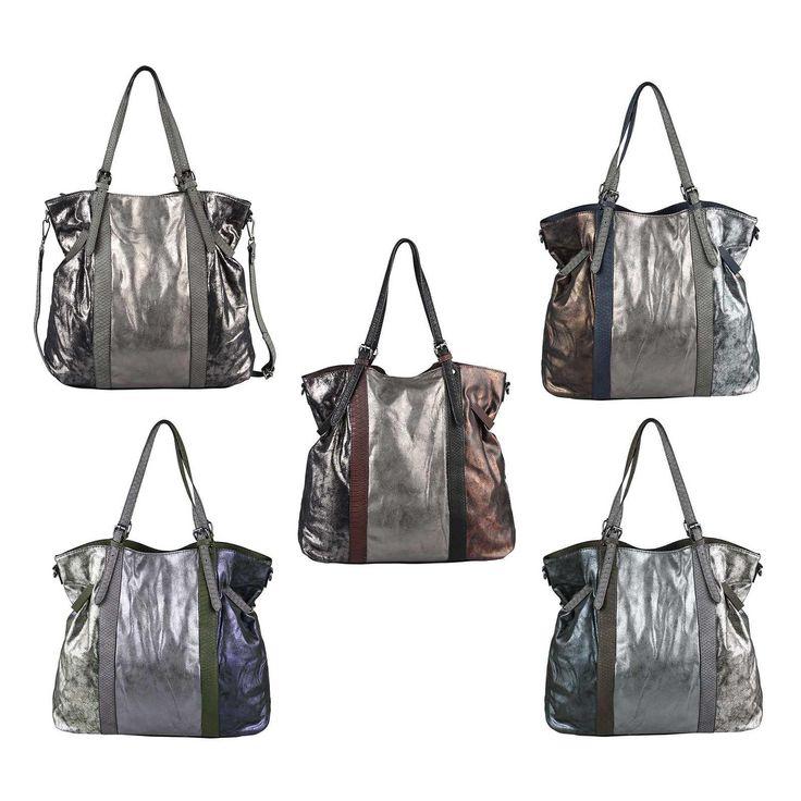 OBC DAMEN HAND-TASCHE Shopper Hobo-Bag Schultertasche Umhängetasche Henkeltasche Beuteltasche METALLIC Silber – Italyshop24.com