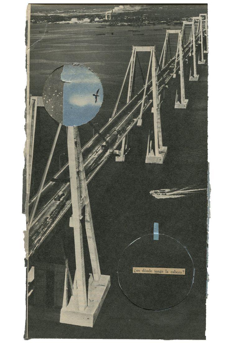 """""""¿en dónde tengo la cabeza?"""". Collage inspirado en la letra """"Cien pájaros volando"""" de Los Rodriguez. Expuesto en la sala SIROCO de Madrid, por haber participado de la expo colectiva en homenaje al primer disco de la banda. www.nataliaromay.com"""