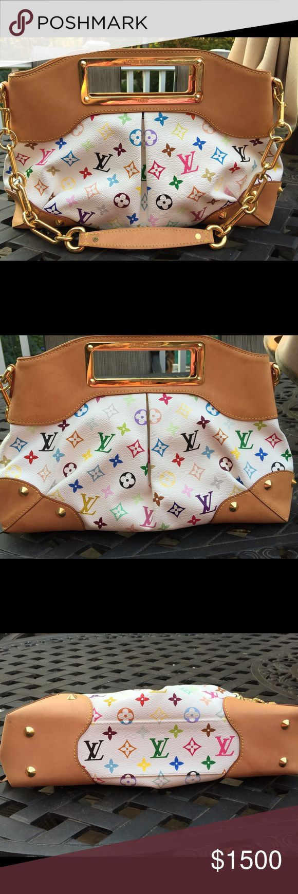 Louis Vuitton Multicolore Monogram Judy GM bag Created by Takashi Murakami for Louis Vuitton with reach red microfiber lining and natural cowhide leather trimmings. The bag can be carried by hand or on the shoulder. The strap is made from linked golden brass pieces and natural cowhide leather. Bags Shoulder Bags