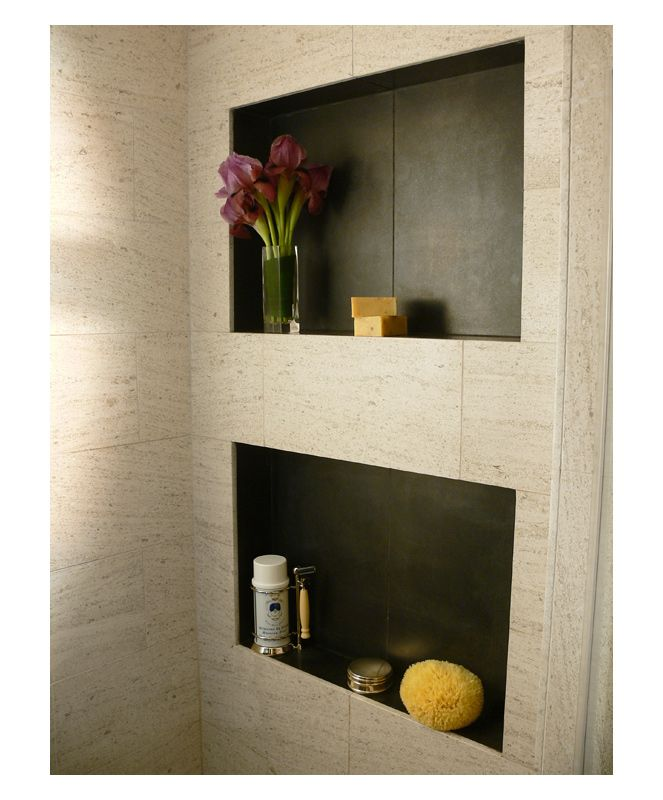 Shower Niche Lined In Different Stone Tile. Limestone Tile
