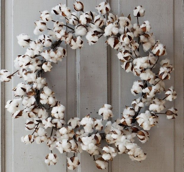 Cotton Wreath | Raw Cotton Wreath | Front Door Wreaths For Spring Antique Farm House