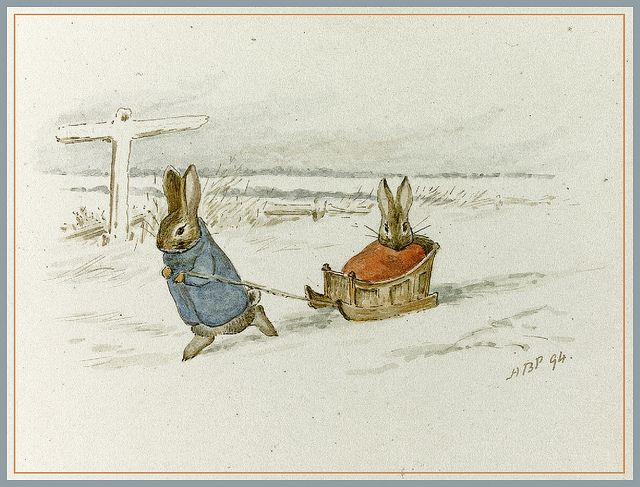 Beatrix Potter 'Two Rabbits with a Sled' (1894) ink and watercolor    Helen Beatrix Potter (1866 – 1943) English author, illustrator, mycologist and conservationist