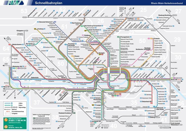 Frankfurt City Transit map - Beautifully integrated Local train (S-Bahn) and DB High Speed Rail lines.